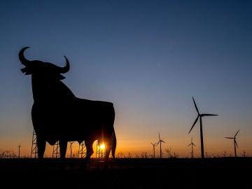 Toro de Osborne en mitad de un campo de molinos eólicos