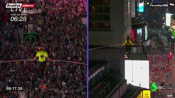 El reto de los hermanos Wallenda: cruzan Times Square por un cable a 25 pisos de altura