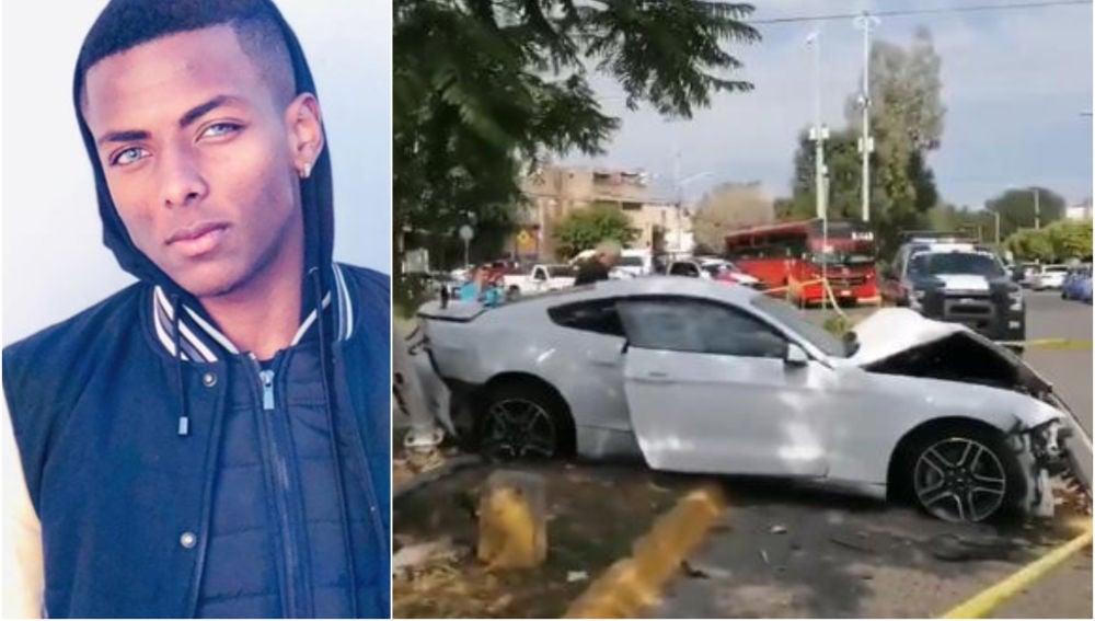 Joao Maleck y su vehículo accidentado