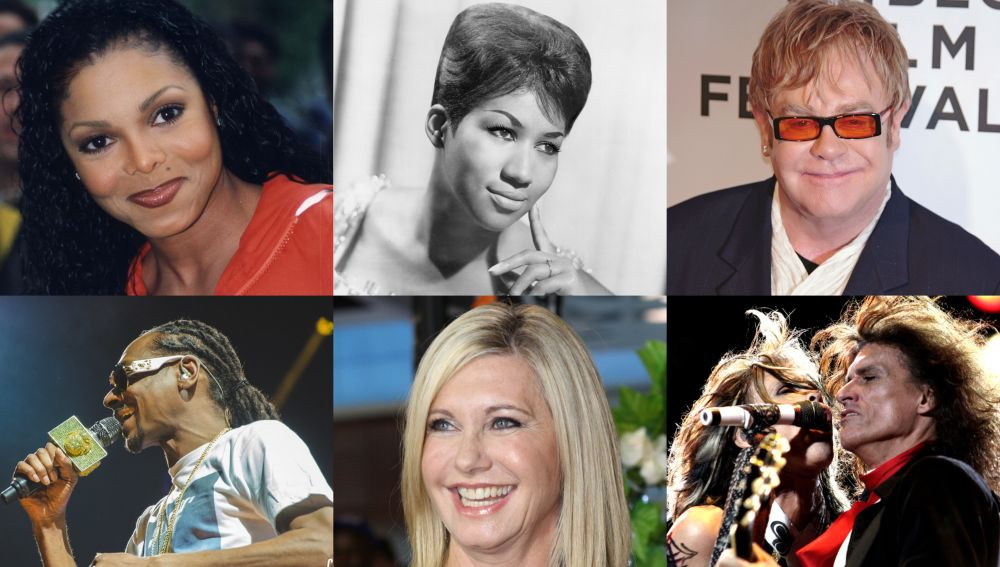 Janet Jackson, Aretha Franklin, Elton John, Snoop Dog, Olivia Newton John, Aerosmith
