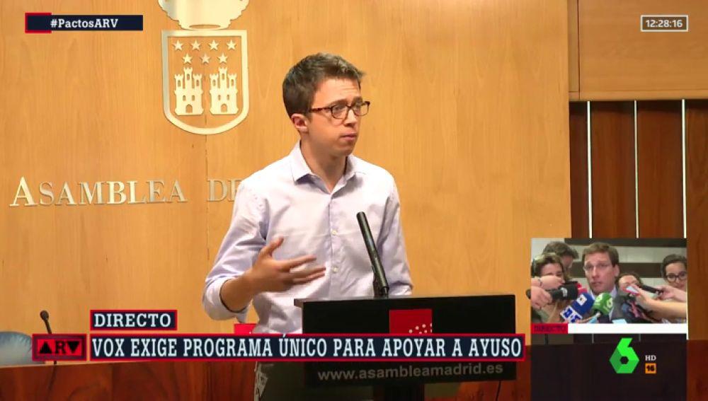 """Errejón manda un mensaje a PSOE y Cs en la Comunidad de Madrid: """"Hay una alternativa"""""""