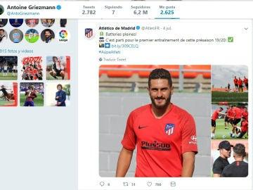 El 'Me Gusta' de Griezmann a un tuit del Atlético