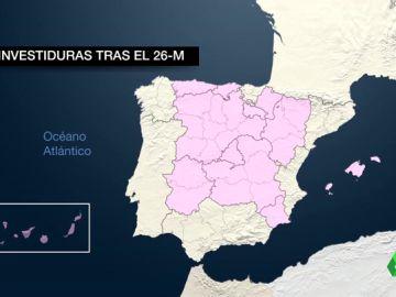 El mapa de España tras el 26M: Murcia, Madrid, La Rioja, Aragón y Navarra penden de un hilo para el éxito de la investidura