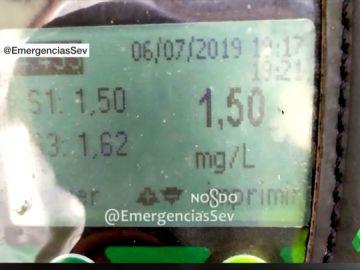 Imagen de la tasa de alcoholemia de una mujer en Sevilla que conducía sin carnet