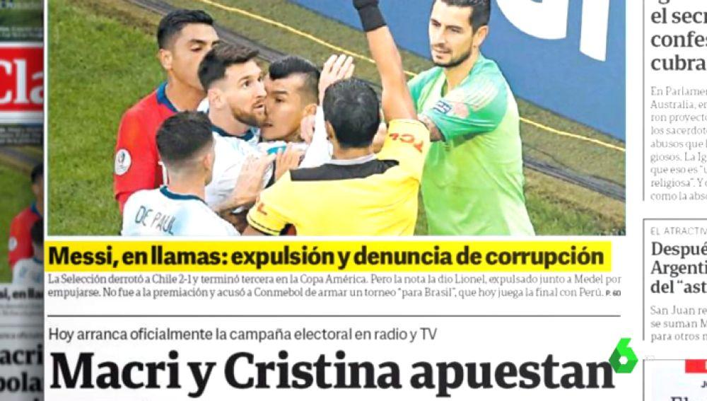 """Argentina se indigna tras la expulsión de Messi: """"La Conmebol le pasó factura"""""""