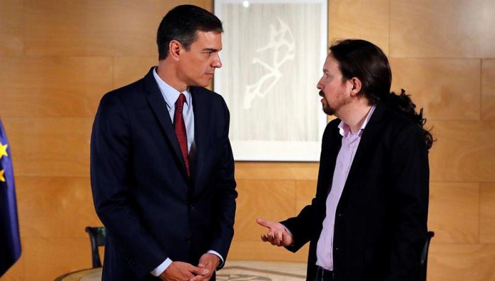 Pedro Sánchez y Pablo Iglesias durante su reunión