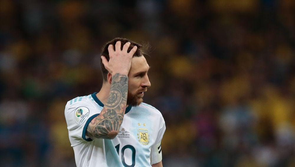 Messi, durante un partido con Argentina