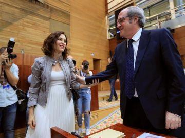 Los candidatos a la presidencia de la Comunidad de Madrid Isabel Díaz Ayuso del PP y Ángel Gabilondo del PSOE