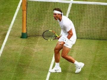 Rafa Nadal, celebrando un punto en Wimbledon