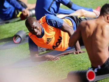 Pogba, durante un entrenamiento con el Manchester United