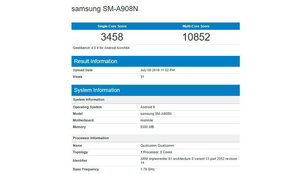 Paso del Samsung Galaxy A90 por el test de rendimiento