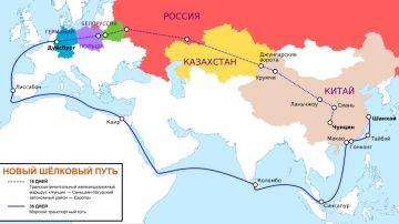 Mapa que muestra el proyecto de la Nueva Ruta de la Seda