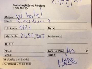 Factura del timo de un taxista a unos turistas italianos