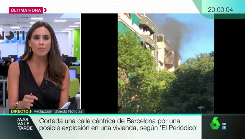 Un explosión provoca un incendio en un bloque de pisos del centro de Barcelona