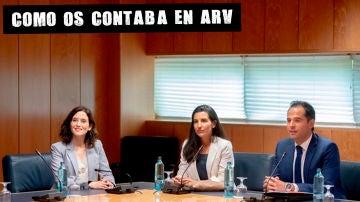 Isabel Díaz Ayuso (PP), Rocío Monasterio (Vox) e Ignacio Aguado (Cs)