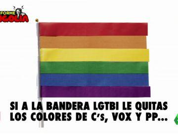 El secreto que esconde la bandera LGTBI: ¿qué pasa si quitas los colores de PP, Cs y Vox?