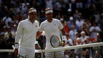 Federer y Nadal, antes de su duelo en semifinales de Wimbledon
