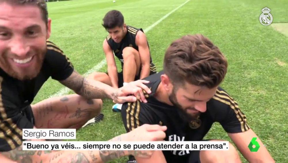 """Sergio Ramos, el 'periodista' del Real Madrid en Montreal: """"¿Cómo te encuentras después de palmarla en el primer partido?"""""""
