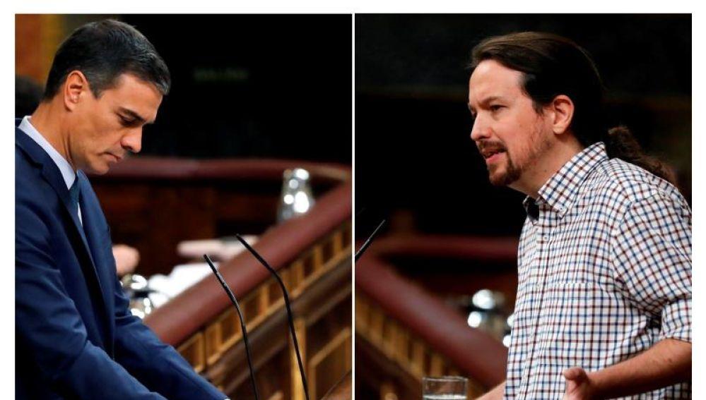 Pedro Sánchez y Pablo Iglesias en el Congreso de los Diputados