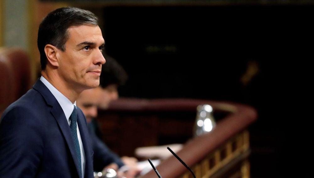 Pedro Sánchez antes de la votación decisiva de su investidura