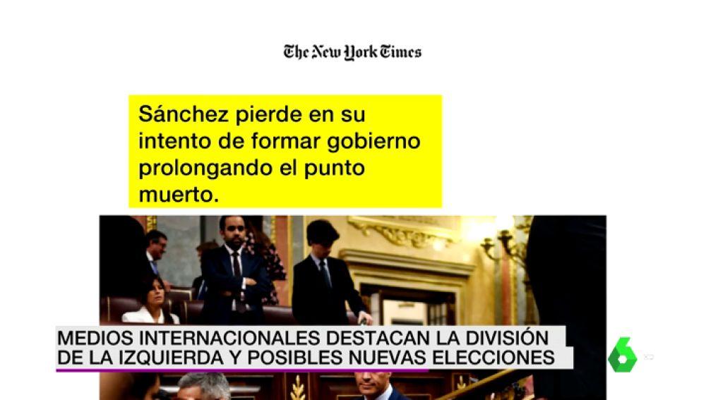 La prensa internacional destaca la división de la izquierda española y la posibilidad de nuevas elecciones