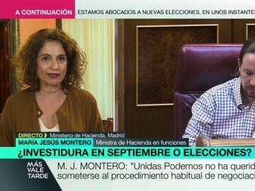 """María Jesús Montero: """"No tiene sentido presentarse a una nueva investidura si PP y Ciudadanos no permiten su abstención"""""""