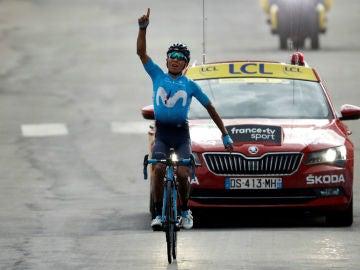 Nairo Quintana celebra una victoria de etapa