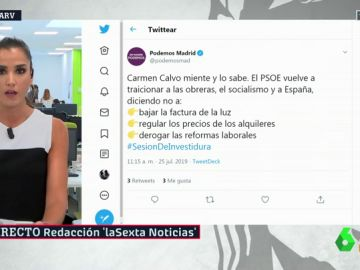 """Podemos elimina el tuit que acusaba a Carmen Calvo de """"mentir"""" y al PSOE de """"traicionar al socialismo"""""""