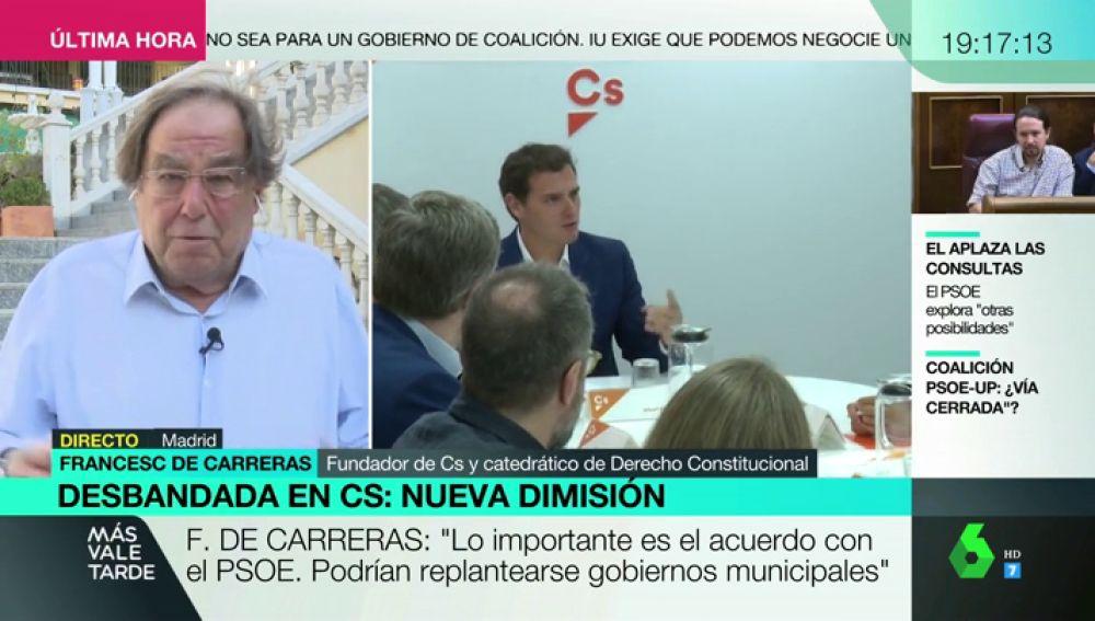 """Francesc de Carreras, fundador de Ciudadanos: """"Rivera debería escuchar las razones de los que nos hemos ido"""""""