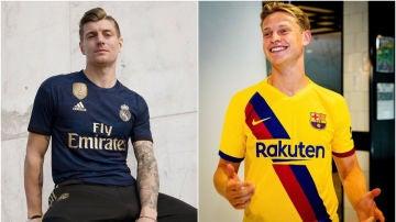 Equipaciones visitantes de Real Madrid y Barcelona