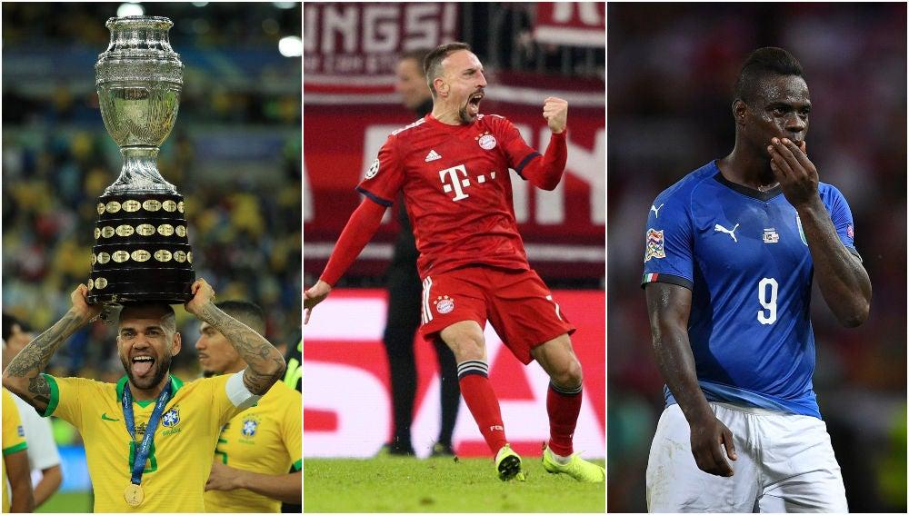 Alves, Ribéry y Balotelli, se encuentran actualmente sin equipo