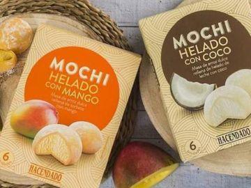 Helados mochi de mango y coco
