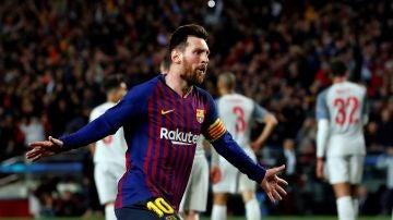 Leo Messi celebra uno de sus goles con el Barcelona