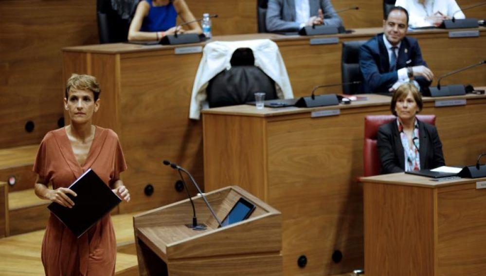 María Chivite en el Parlamento de Navarra