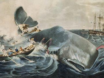 Cuadro del siglo XIX que muestra la caza de cachalotes