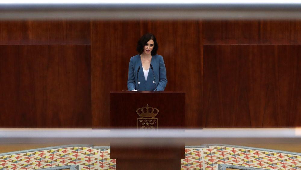 Isabel Díaz Ayuso durante su discurso de investidura en la Asamblea de Madrid