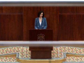 Isabel Díaz Ayuso, durante su discurso de investidura