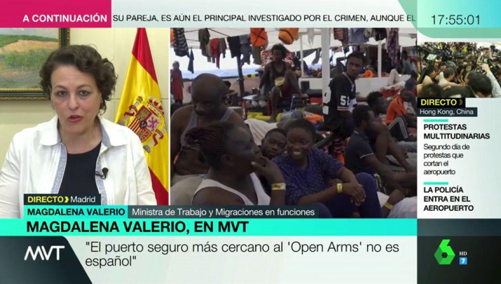 """Magdalena Valerio, sobre el Open Arms: """"No adoptamos las mismas políticas que Salvini, pero pedimos corresponsabilidad"""""""