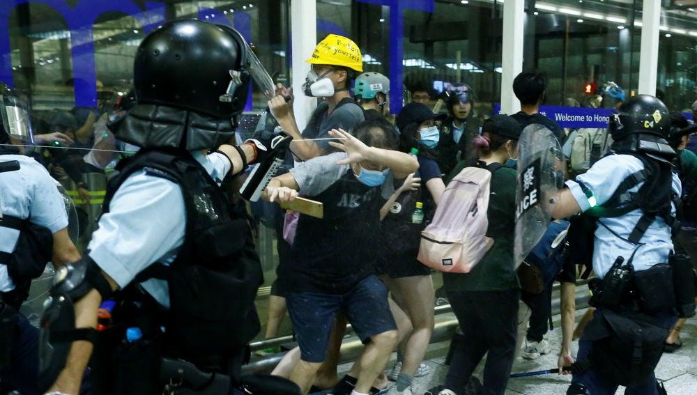 Momento de las protestas en Hong Kong