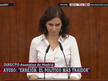 """Ayuso acusa a Errejón de ser el """"político más traidor de España"""""""