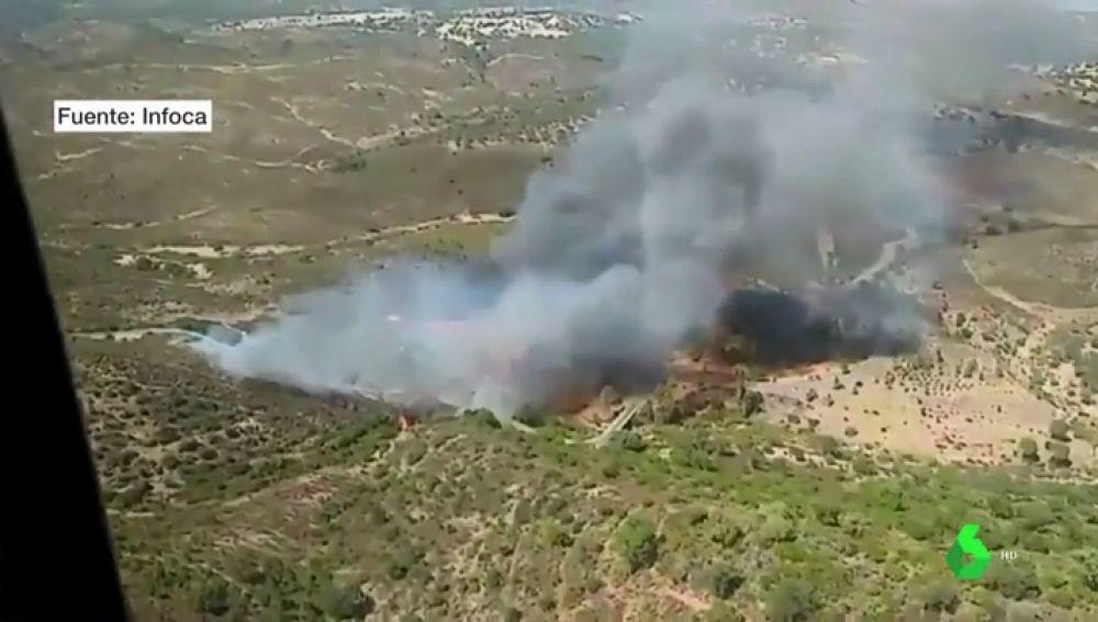 Desalojan a 40 personas por la proximidad de sus viviendas al incendio de El Castillo de las Guardas, en Sevilla