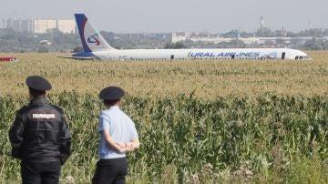 El avión que aterrizó de emergencia en un maizal cerca de Moscú