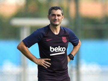 Ernesto Valverde, durante un entrenamiento