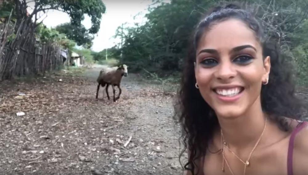 Una cabra embiste a una joven cuando se hace un 'selfie'