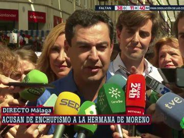 """Juanma Moreno, sobre el posible trato de favor a su hermana: """"Ningún nombre va a condicionar ninguna selección"""""""