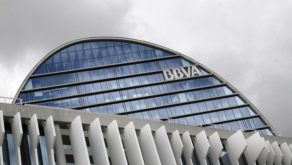 Fachada de la sede corporativa del BBVA, en el distrito de Las Tablas en Madrid