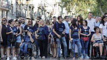 Familiares de las víctimas y afectados por del atentado terrorista del 17A en Barcelona
