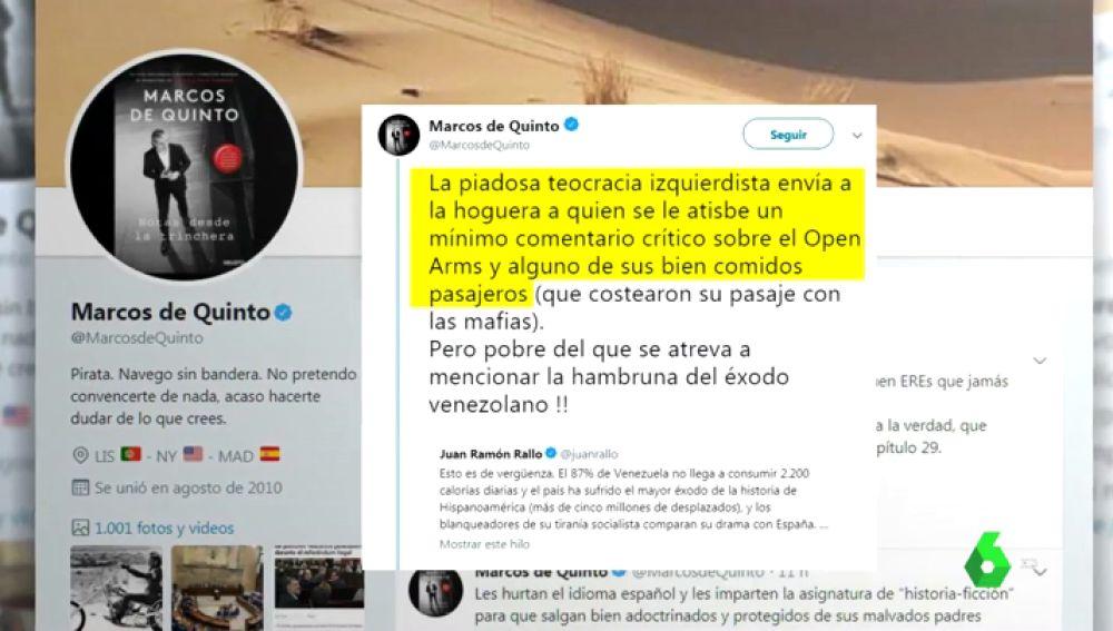 """Polémico tuit de Marcos de Quinto (Cs) sobre el Open Arms: habla de """"algunos bien comidos pasajeros"""""""