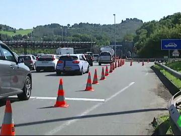 Colas en la frontera con Francia