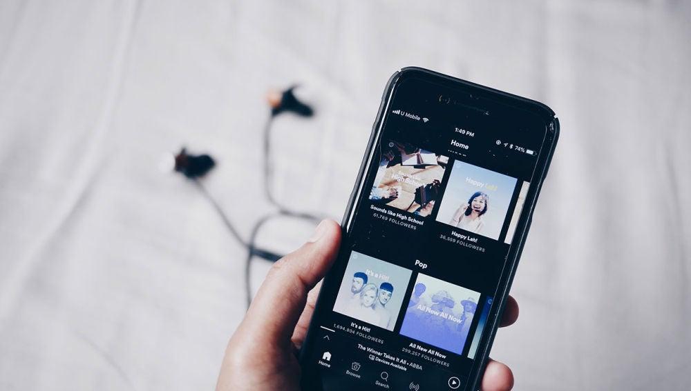 Spotify en un smartphone
